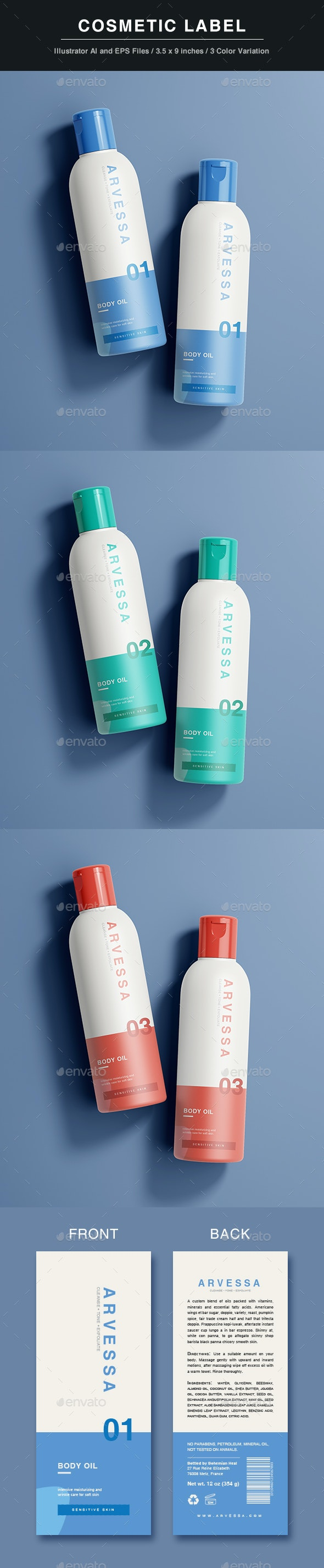 Cosmetic Label Template - Packaging Print Templates