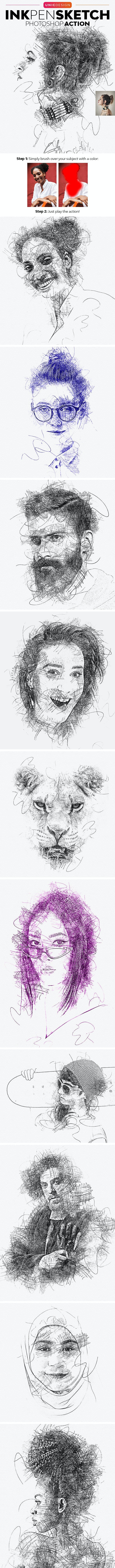 Ink Pen Sketch Photoshop Action - Photo Effects Actions