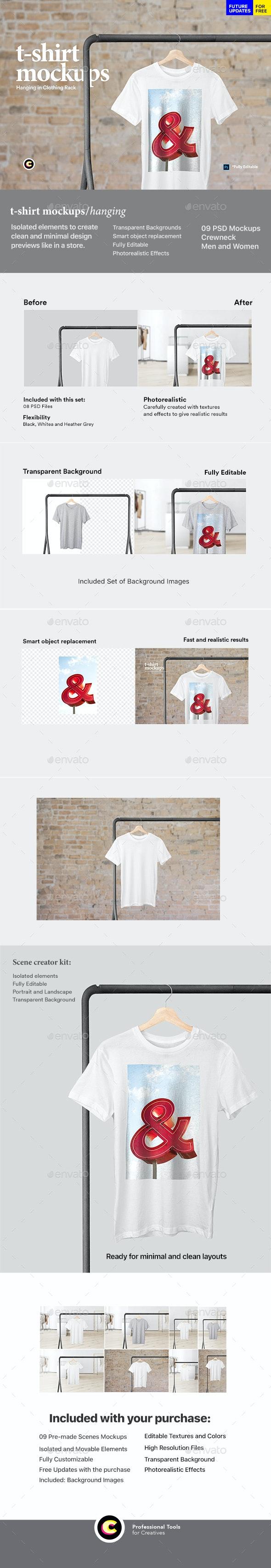 Hanging T-Shirt Mockup - T-shirts Apparel