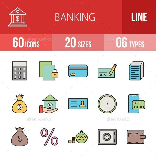 Banking Filled Line Icons Season II