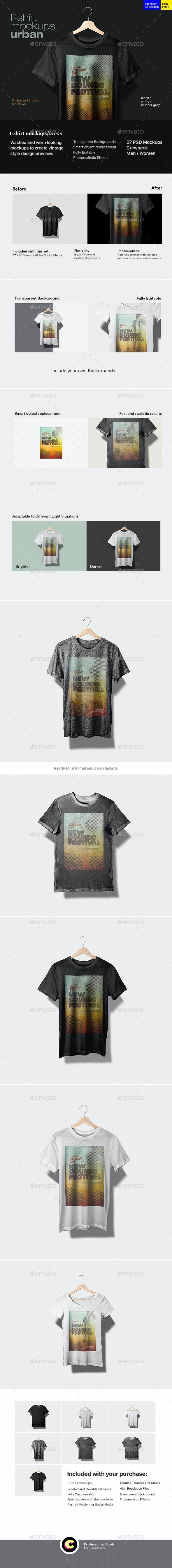 T-Shirt Mockup Urban - T-shirts Apparel