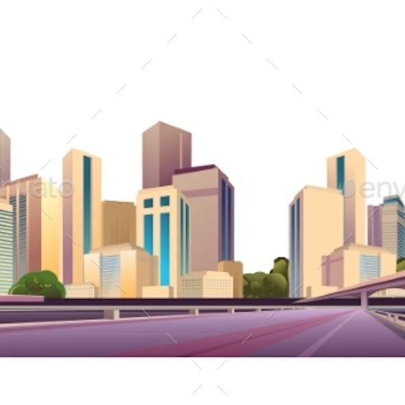 City Landscape on a White Background
