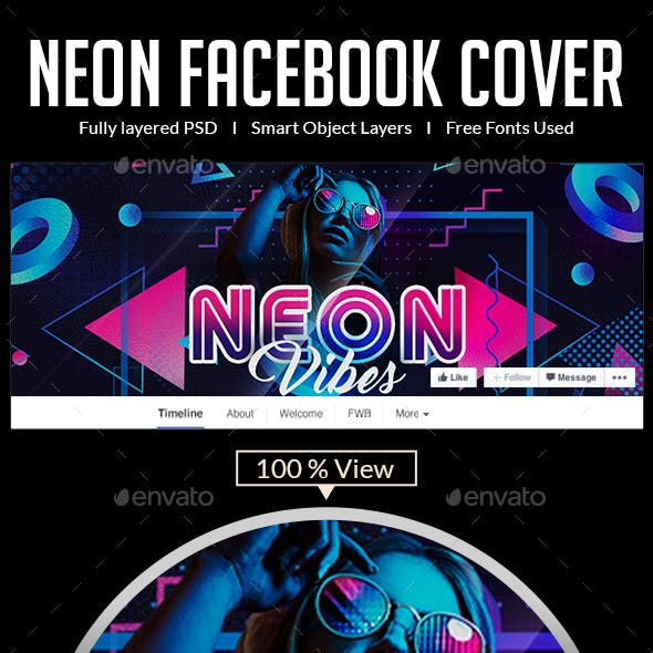 Neon Party Facebook Covers
