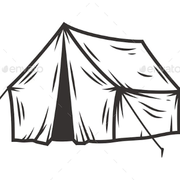 Monochrome Silhouette of Camping Tent for Traveler