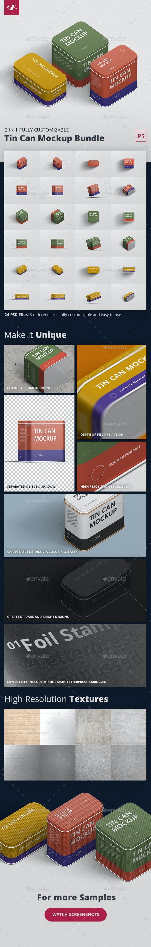 Tin Can Mockup Bundle - Miscellaneous Packaging