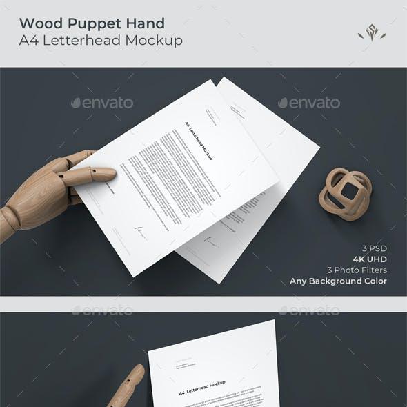 Wood Puppet Hand A4 Letterhead Mockup
