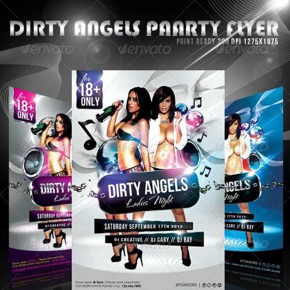 Dirty Angels Ladies Night Party Flyer