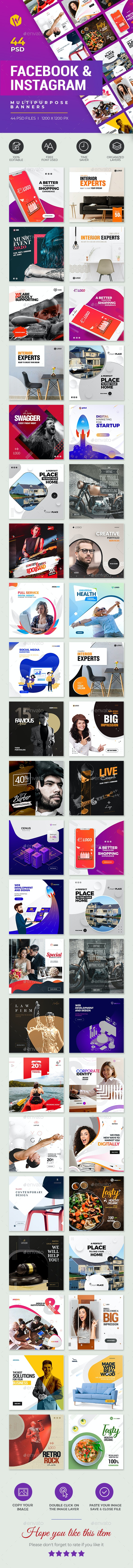 44-Facebook & Instagram Banners - Social Media Web Elements