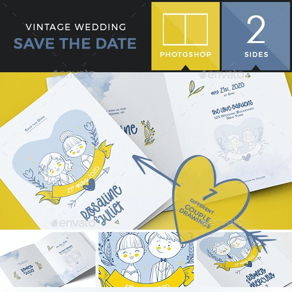 Illustrated Save the Date / Wedding Invitation - Bifold