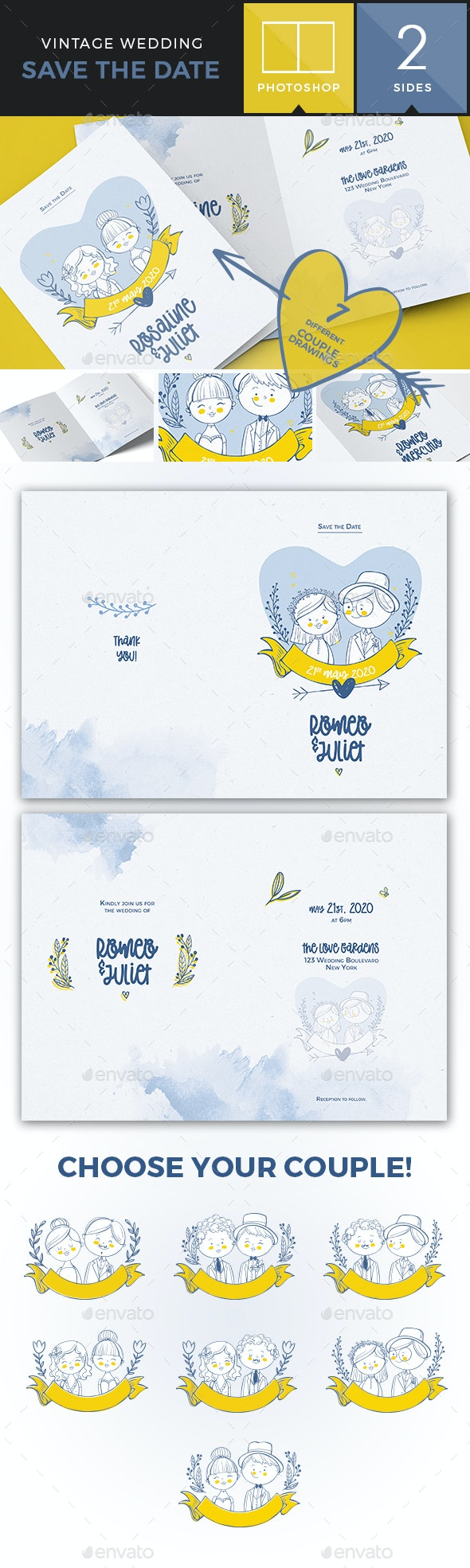 Illustrated Save the Date / Wedding Invitation - Bifold - Weddings Cards & Invites