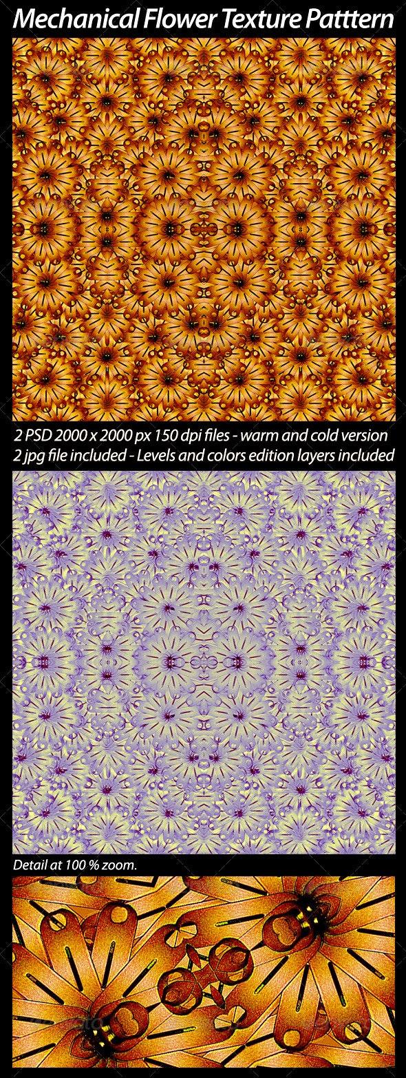 2 Mechanical Flower Texture Pattern - Art Textures