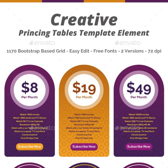 Pricing Tables Creative