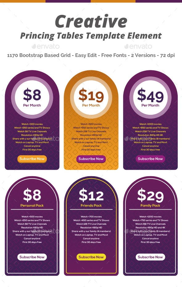 Pricing Tables Creative - Tables Web Elements