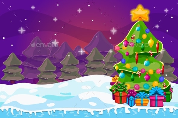 Winter Landscape with Christmas Tree and Gift Box - Christmas Seasons/Holidays