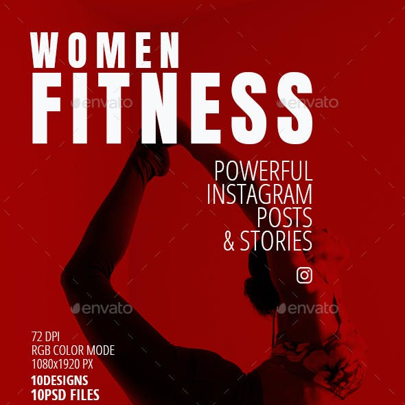Women Fitness 10 Instagram Posts and Stories