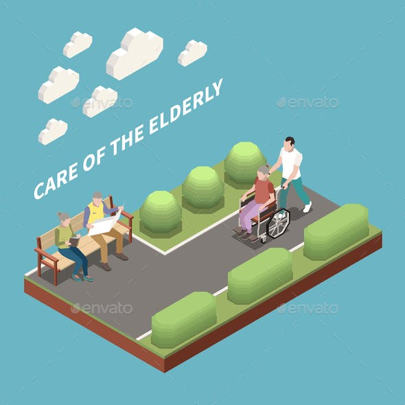 Care Of Elderly Isometric Background