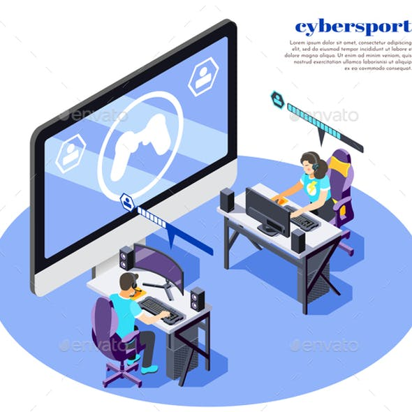 Cybersport Isometric And Colored Composition