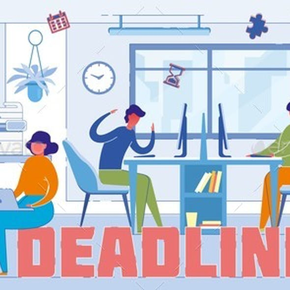 Meeting, Approaching Deadline Word Concept Banner