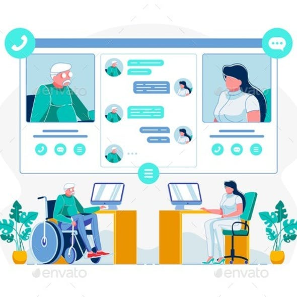 Telemedicine for Disabled Individuals Illustration