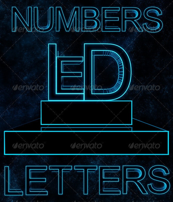 Led Letters - Text 3D Renders