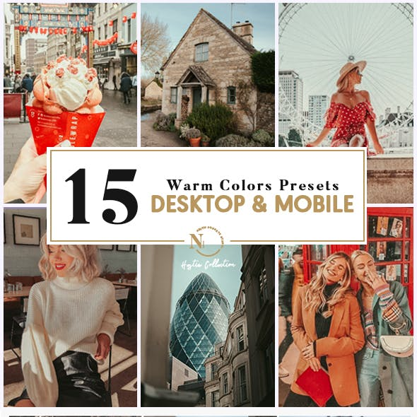 15 Lightroom Presets | Desktop & Mobile | Hestia Warm Color Collection