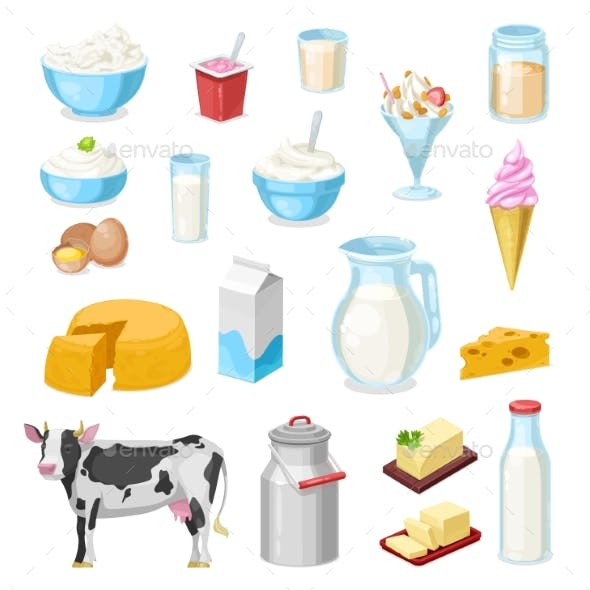 Farm Milk, Cheese and Butter Icons of Dairy Food