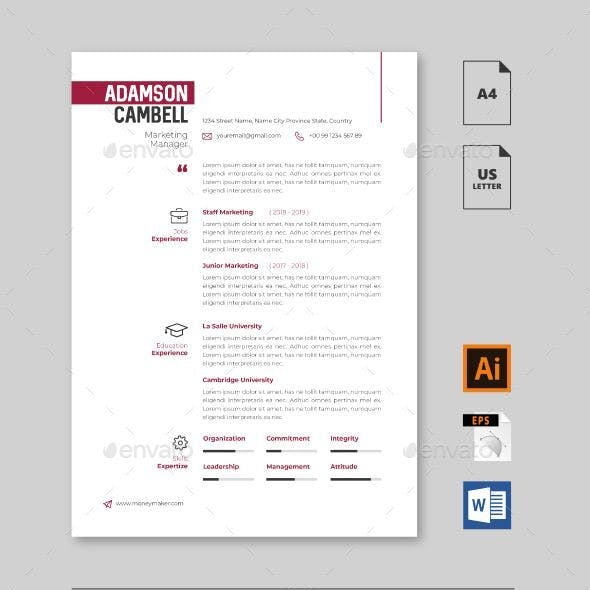 Minimalist Clean Resume CV Vol. 2