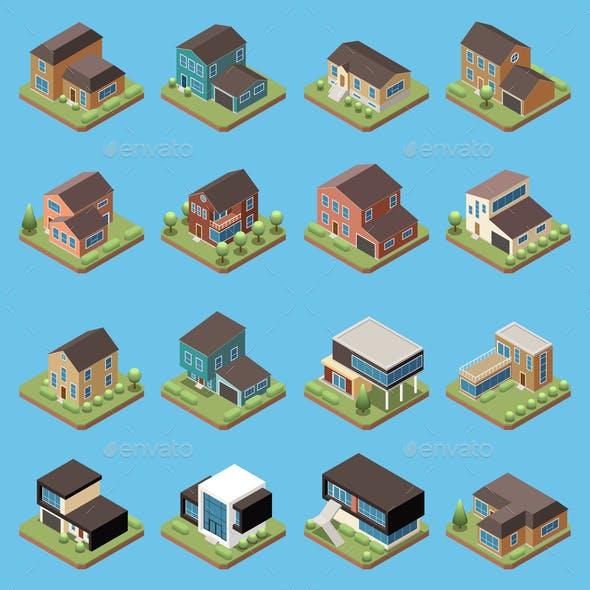 Suburban Residential Houses Isometric Set