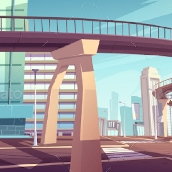 Cityscape with Skyscrapers and Overpass Highway