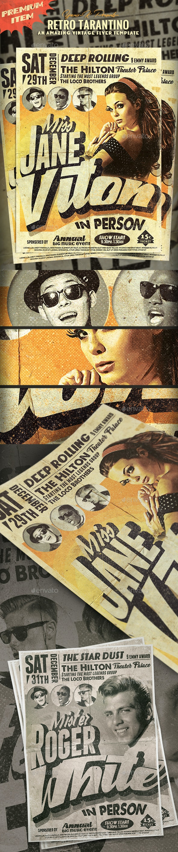 Retro Tarantino poster - Flyers Print Templates