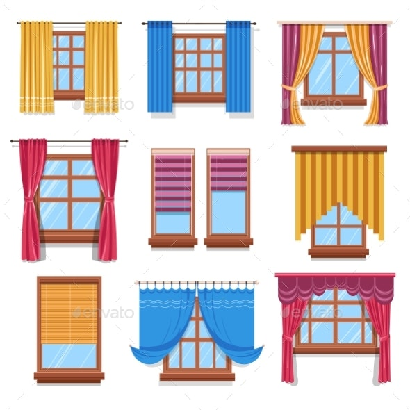 Curtains and Blinders on Windows Isolated Icons - Man-made Objects Objects