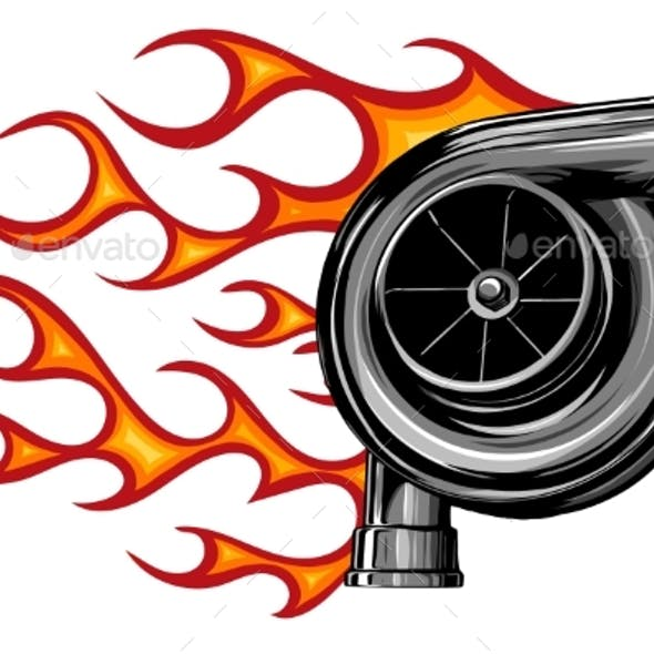 Vector Illustration Turbo Charger with Flames