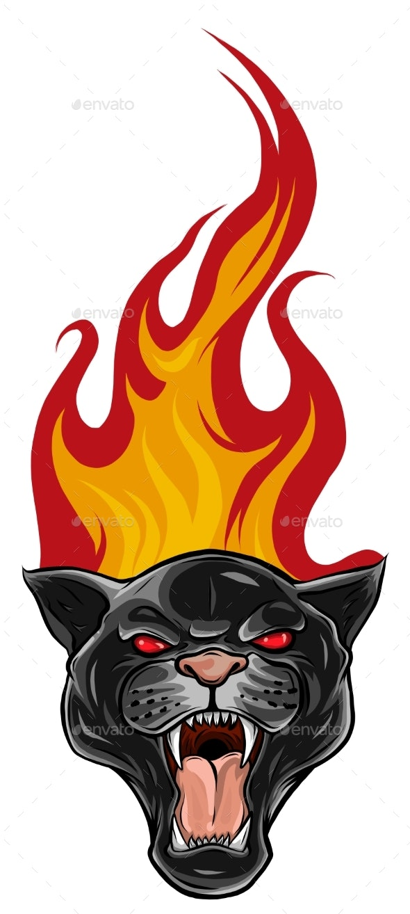 Black Panther Tattoo Design With Flames Vector By Deanz89 Graphicriver