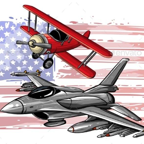 Military Fighter Jets Isolated on Background