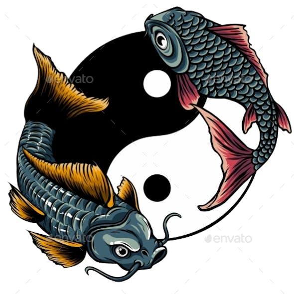 Yin Yang Koi Fish Vector Illustration Art