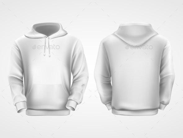 White Hoodie Sweatshirt, Sportswear Mockup - Man-made Objects Objects