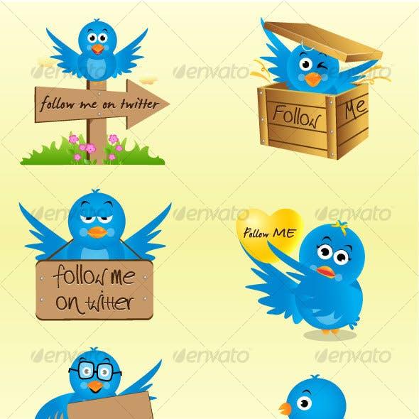 Twitter Birds in Six Avatars - Vector Icon Set