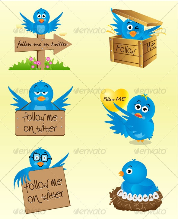 Twitter Birds in Six Avatars - Vector Icon Set - Web Technology