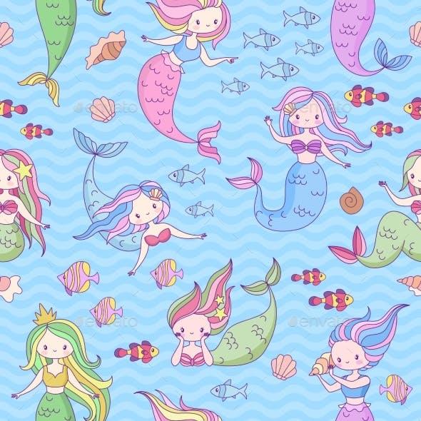 Mermaid Seamless Pattern