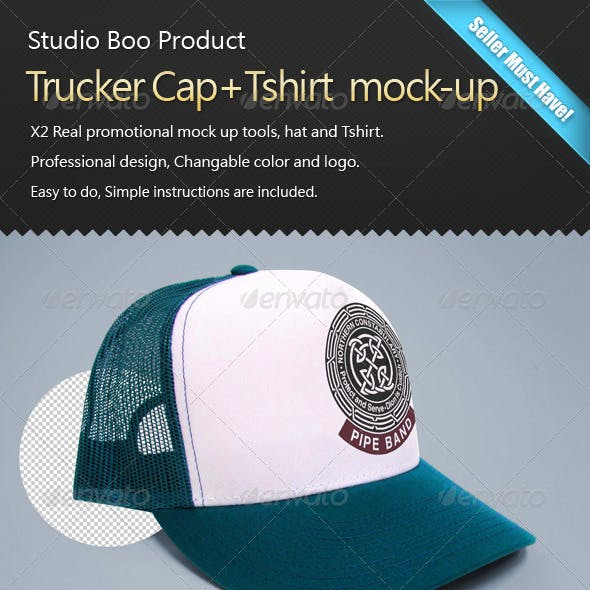 Trucker Cap+Tshirt  mock-up