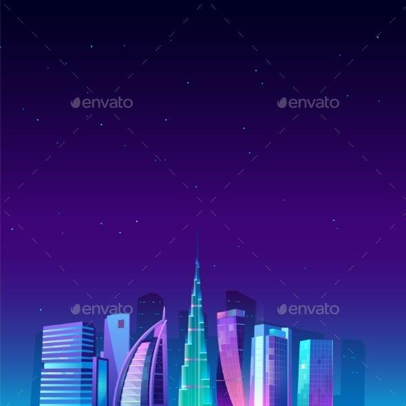 Dubai, UAE Skyline with World Famous Buildings