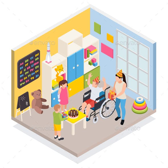 Disabled People Isometric Composition
