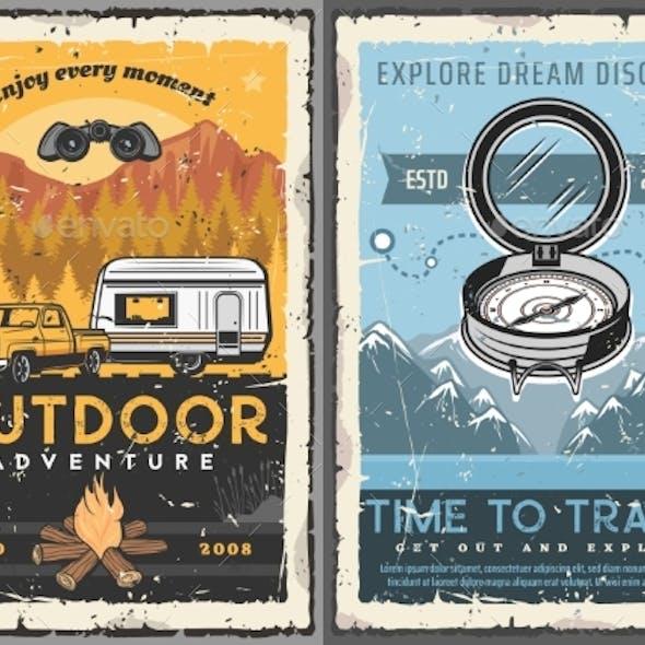 Travel, Tourism, Trailer Home Retro Posters