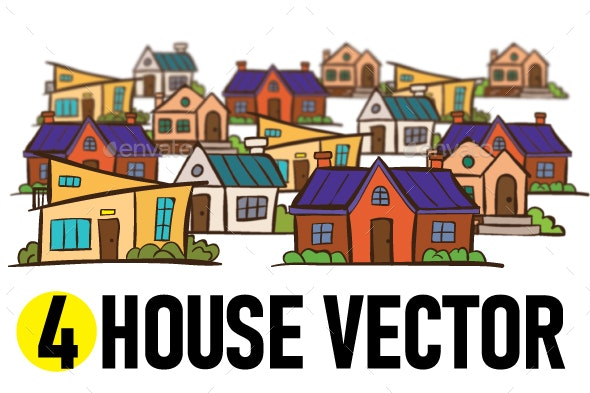 4 House Vector - Buildings Objects