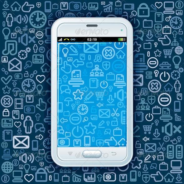 Smartphone on Web Pattern - Communications Technology