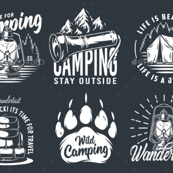 Set of Camping Travel Outdoor Adventure Emblem