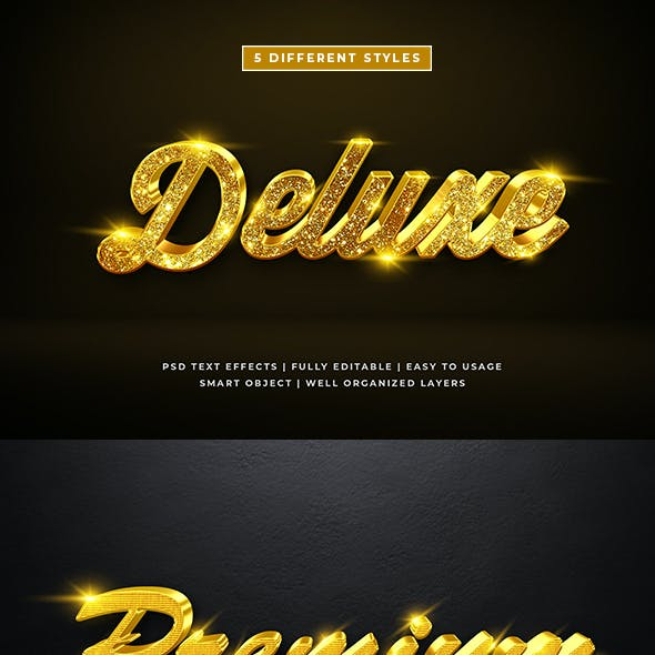 3d Gold Luxury Text Style Effect Mockup