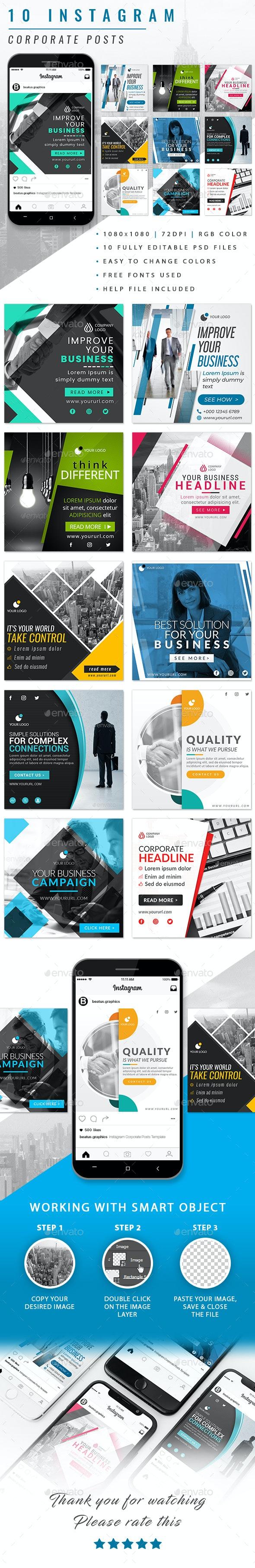 Instagram Corporate Posts - Social Media Web Elements