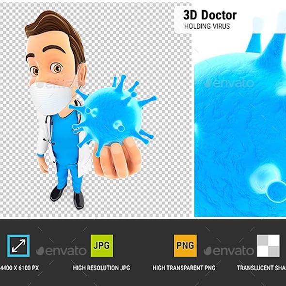 3D Doctor Holding Virus