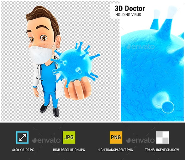 3D Doctor Holding Virus - Characters 3D Renders